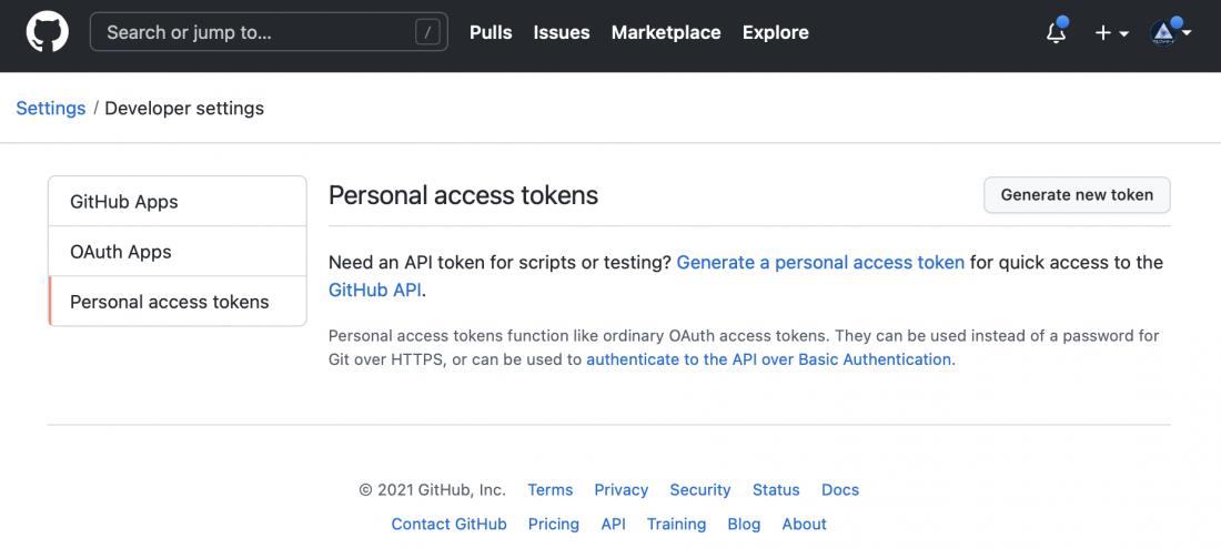 GitHubのPersonal access tokenの発行画面